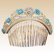 Regency period fire gilded turquoise floral tiara hair comb or headdress