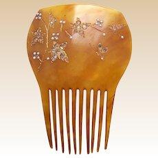 Late Victorian hair comb faux pearl rhinestone trim hair ornament