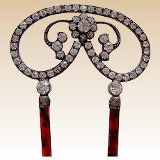 Edwardian metal hair pin with rhinestone trim hair ornament