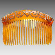 Victorian blonde celluloid hair comb with rhinestone trim hair accessory