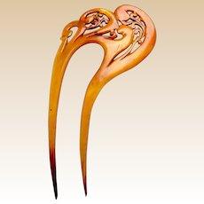 Blonde celluloid hair comb asymmetric Art Nouveau design hair accessory