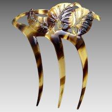Faux tortoiseshell hair comb asymmetric rhinestone leaves design hair ornament