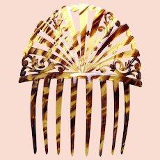Art Deco faux tortoiseshell hair comb Spanish style hair accessory