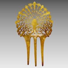 Art Deco blonde celluloid hair comb Spanish mantilla style hair ornament