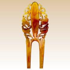 Slim design steer horn hair pin scroll design hair ornament