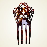 Art Nouveau hair comb faux tortoiseshell interlaced design hair ornament