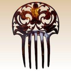 Art Deco hair comb faux tortoiseshell fleur de lys design hair ornament