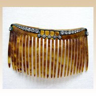 Edwardian hair comb rhinestone faux tortoiseshell hair accessory