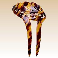 Faux tortoiseshell hair comb asymmetric leaves design hair ornament