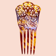 Faux tortoiseshell hair comb interlaced Art Nouveau style hair ornament