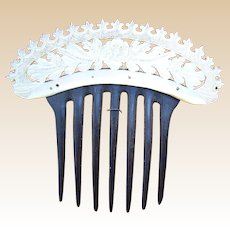 Custom framed mother of pearl hair comb Victorian carved hair accessory