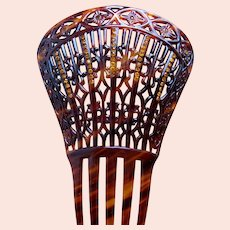 Victorian hair comb Spanish mantilla style amber rhinestones hair accessory