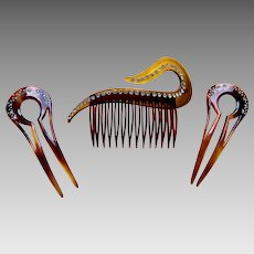 Three mid century hair combs faux tortoiseshell rhinestone hair accessories