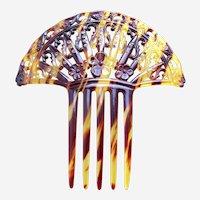 Art Deco hair comb faux tortoiseshell Spanish style scroll design hair accessory