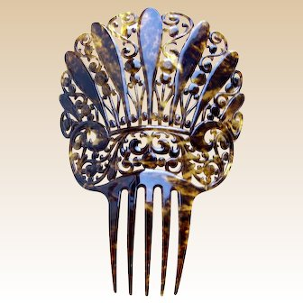 Art Deco hair comb faux tortoiseshell Spanish style hair accessory