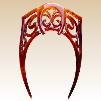 Art Nouveau hair comb faux tortoiseshell hair accessory