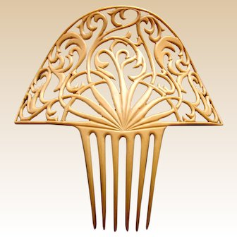 Oversized Art Deco hair comb French ivory Spanish style hair ornament