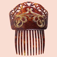 Art Nouveau hair comb faux tortoiseshell gold tone metal scrolls hair accessory
