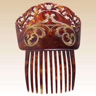 Art Nouveau hair comb faux tortoiseshell gold tone metal scrolls hair accessory