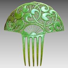 Art Deco hair comb jade green celluloid Spanish style hair accessory