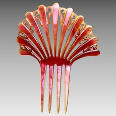 Art Deco hair comb pink celluloid Spanish style hair accessory