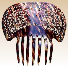 Spanish mantilla hair comb celluloid faux tortoiseshell hair accessory