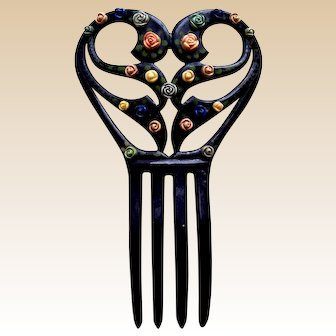 Art Deco hair comb celluloid with applied flowers hair accessory