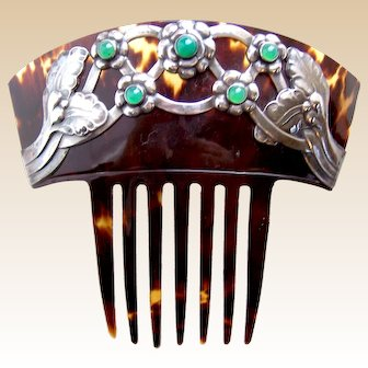 Art Nouveau skonvirke haircomb signed by Georg Jensen  hair accessory with provenance