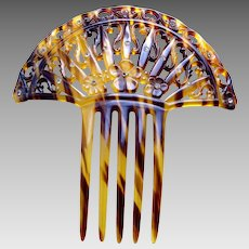 Art Deco hair comb faux tortoiseshell Spanish style scroll design hair accessory