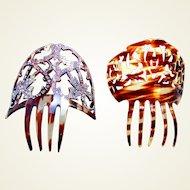 Two miniature Spanish hair combs faux tortoiseshell hair accessories