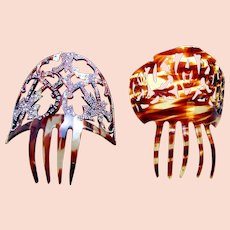 Two miniature Spanish hair combs faux tortoiseshell hair accessories