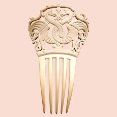 Art Nouveau hair comb French ivory with zoomorphic design hair ornament