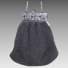 Vintage Whiting and Davis black metallic mesh bag or evening purse (AAA)