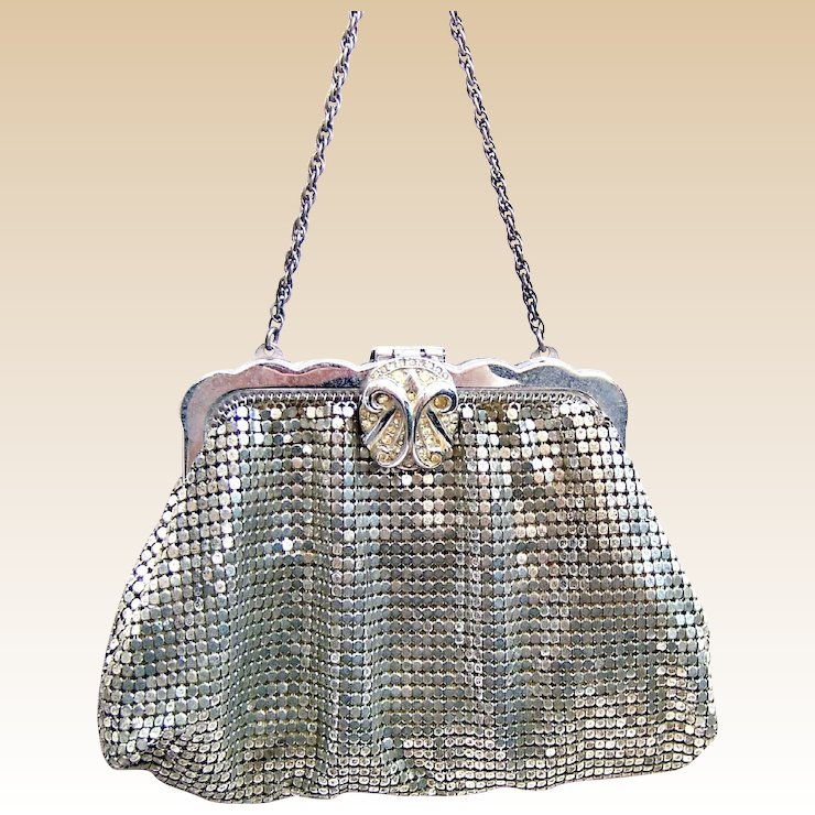 Whiting And Davis Silver Metallic Mesh Bag Or Evening Purse Aab