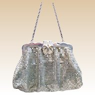 Whiting and Davis silver metallic mesh bag or evening purse (AAB)