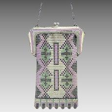 Art Deco mesh bag or evening purse with enamel decoration (AAF)