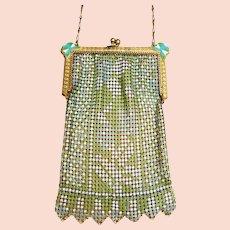 Art Deco enamelled metallic mesh bag or evening purse (AAJ)