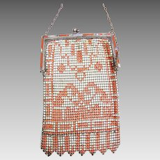 Art Deco Whiting and Davis enamelled metallic mesh bag or evening purse (AAL)