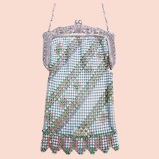 Art Deco enamelled metallic mesh bag or evening purse (AAN)