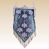 Art Deco Mandalian enamelled metallic mesh bag or evening purse (AAP)