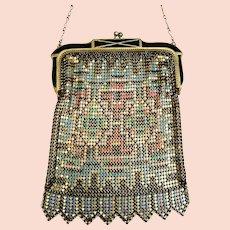 Art Deco Whiting and Davis enamelled metallic mesh bag or evening purse mesh purse (AAQ)