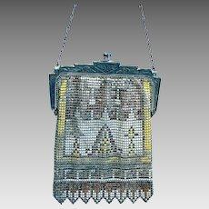 Art Deco enamelled metallic mesh bag or evening purse (AAR)