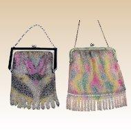 Two Art Deco metallic Dresden mesh purses for decoration (AAU)
