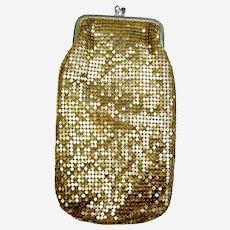 Vintage gold metallic mesh evening clutch purse or glasses case(AAV)