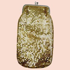 Vintage gold metallic mesh evening clutch purse or glasses case(AAV)
