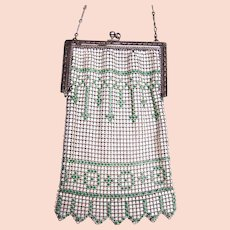 Art Deco enamelled metallic mesh bag or evening purse (AAW)