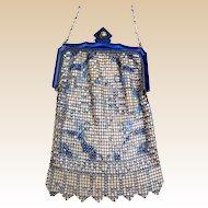 Art Deco Whiting and Davis enamelled metallic mesh bag or evening purse (AAX)
