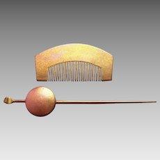 Vintage Japanese hair comb hair pin set kanzashi geisha hair accessories (AGE)