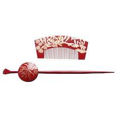 Vintage Japanese hair comb hair pin set kanzashi geisha hair accessories (AGF)