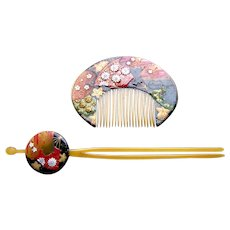 Vintage Japanese hair comb hair pin set kanzashi geisha hair accessories (AGG)